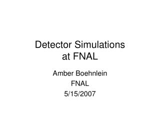 Detector Simulations at FNAL
