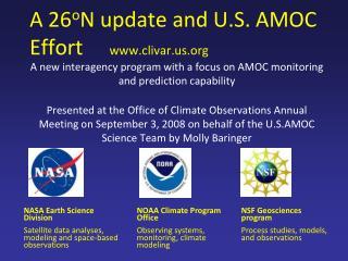 A 26 o N update and U.S. AMOC Effort      clivar