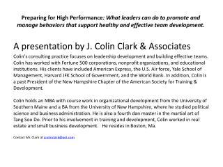 A presentation by J. Colin Clark & Associates