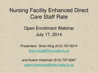 Nursing Facility Enhanced Direct Care Staff Rate