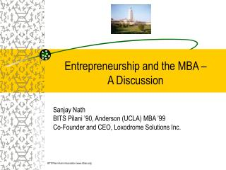 Entrepreneurship and the MBA –  A Discussion
