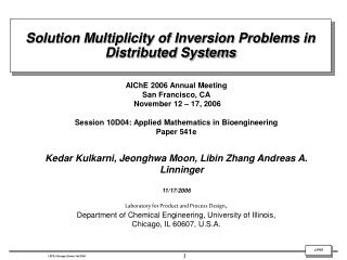 Solution Multiplicity of Inversion Problems in Distributed Systems