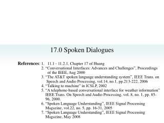17.0 Spoken Dialogues