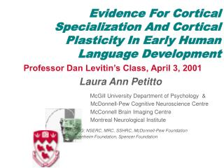 Evidence For Cortical Specialization And Cortical Plasticity In Early Human Language Development