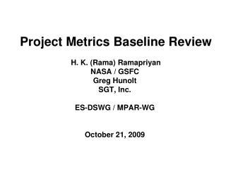 Metrics Baseline Review