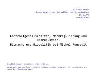 RINGVORLESUNG  Genderaspekte der Sexualität und Reproduktion WS 07/08 MedUni Wien