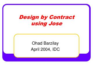 Design by Contract using Jose