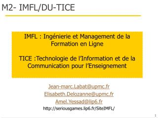 M2- IMFL/DU-TICE