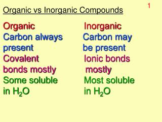 Organic vs Inorganic Compounds Organic Inorganic	 Carbon always	      Carbon may