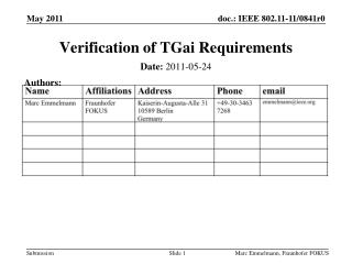 Verification of  TGai  Requirements