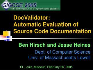 DocValidator: Automatic Evaluation of Source Code Documentation
