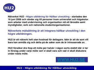 HU2 - H�gre utbildning f�r H�llbar utveckling