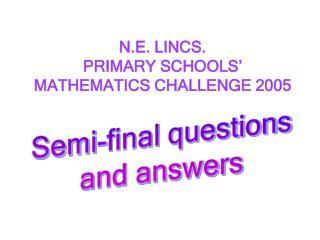 N.E. LINCS.  PRIMARY SCHOOLS� MATHEMATICS CHALLENGE 2005