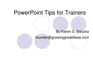 PowerPoint Tips for Trainers