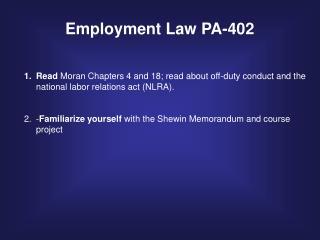 Employment Law PA-402