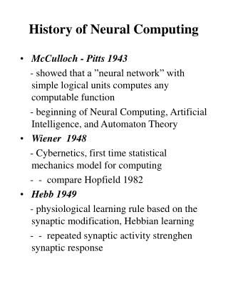 History of Neural Computing