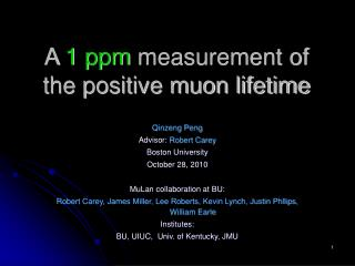 A  1 ppm  measurement of the positive muon lifetime