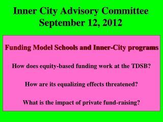 Inner City Advisory Committee September 12, 2012