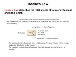 Hooke's Law  describes the relationship of frequency to mass and bond length.