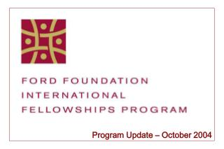Program Update – October 2004