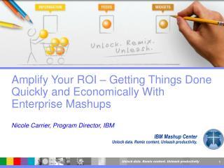 IBM Mashup Center Unlock data. Remix content. Unleash productivity.