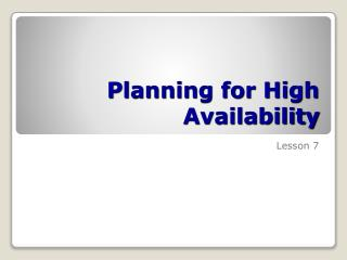 Planning for High Availability