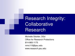 Research Integrity: Collaborative Research