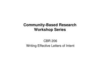 Community-Based Research  Workshop Series