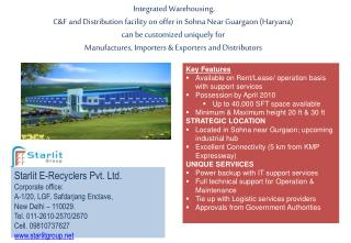 Starlit E-Recyclers Pvt. Ltd. Corporate office: A-1/20, LGF,  Safdarjang  Enclave,