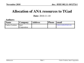 Allocation of ANA resources to TGad