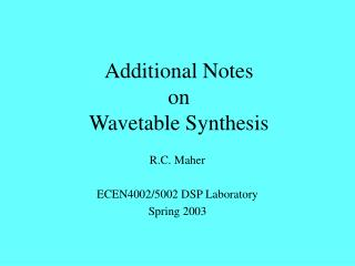 Additional Notes on Wavetable Synthesis
