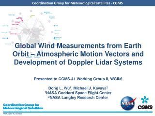 Development of Doppler Lidar Systems Outline History Recent NASA Wind Lidar Development