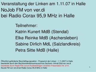 NoJob FM von ver.di  bei Radio Corax 95,9 MHz in Halle