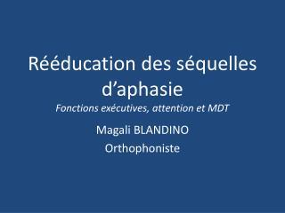 Rééducation des séquelles d'aphasie Fonctions exécutives, attention et MDT