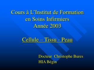 Cours à L'Institut de Formation en Soins Infirmiers Année 2003 Cellule – Tissu - Peau