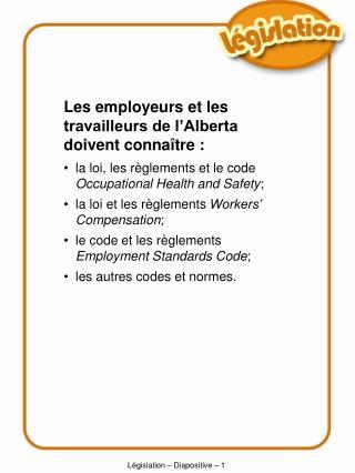 Législation – Diapositive –  1