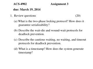 1.  Review questions					(20)