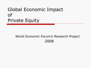 Global Economic Impact of Private Equity