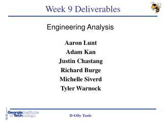 Week 9 Deliverables