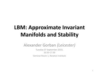 LBM: Approximate Invariant Manifolds and Stability