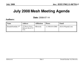 July 2008 Mesh Meeting Agenda