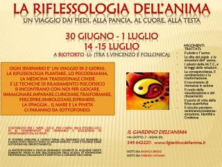 IL GIARDINO DELL'ANIMA Via Giotto, 7 –  Signa  (FI)  349 6422211   ilgiardinodellanima.it