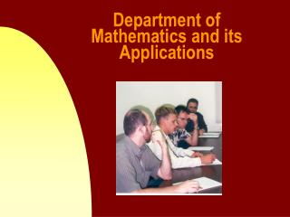 Department of Mathematics and its Applications