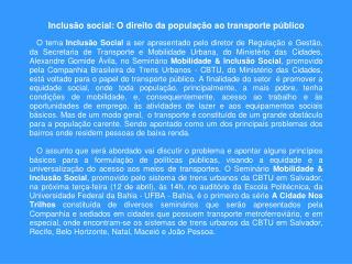 Mobilidade Urbana e Inclusão Social