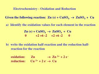 Electrochemistry - Oxidation and Reduction