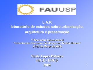 Neide Lopes Patarra IBGE / ENCE 2006