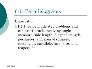 6-1: Parallelograms