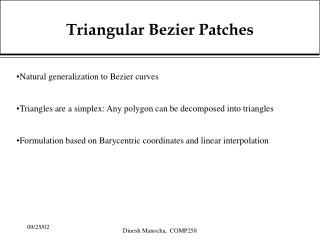 Triangular Bezier Patches