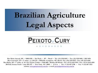Brazilian Agriculture Legal Aspects