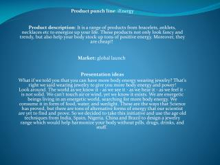 Product punch line : iEnergy
